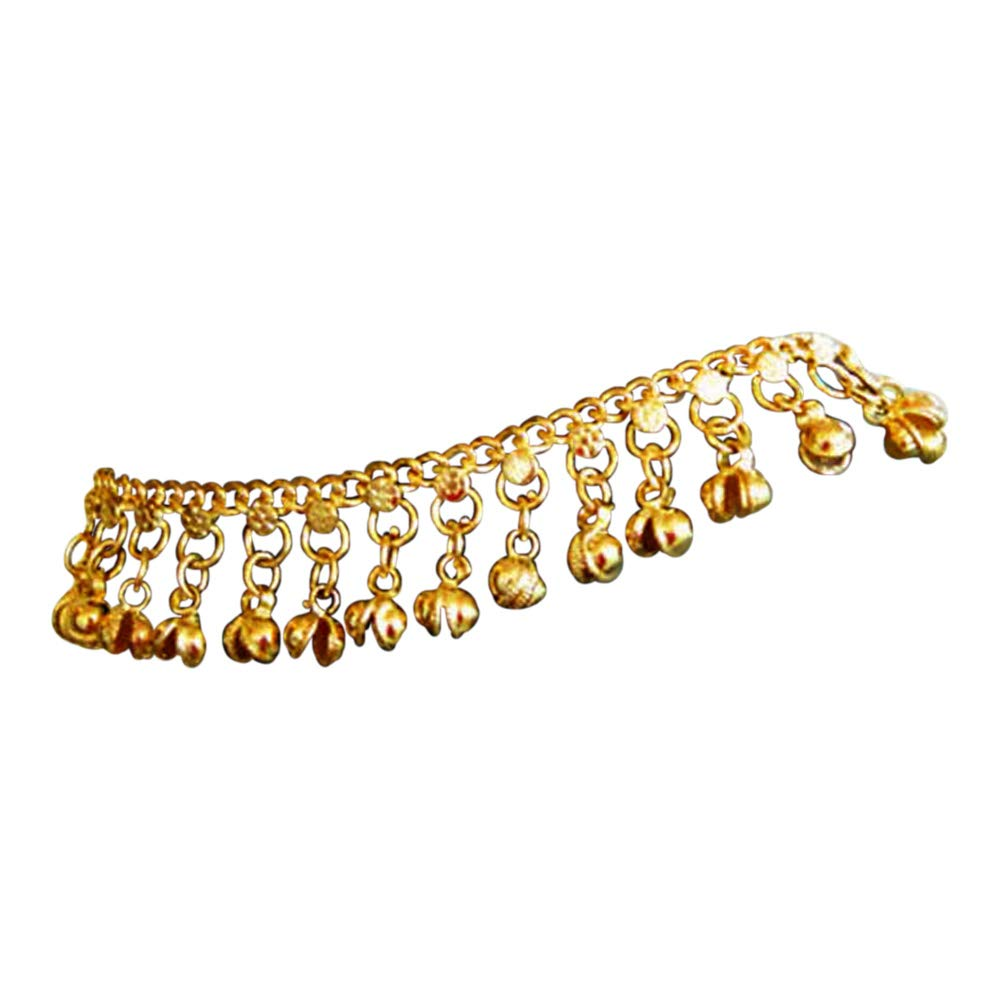 Uma Indian Traditional Belly Dance Ghungroo Brass Anklet with Jingling Bells Gold-Toned B00N419XCI_US