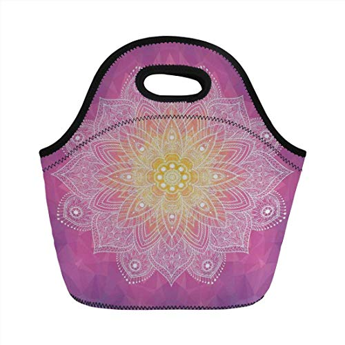 303a558bd081 Portable Bento Lunch Bag,Mandala Decor,Digital Asian Mandala in Psychedelic  Hidden Spiritual Magic Force of Life,Fuchsia Yellow,for Kids Adult Thermal  ...
