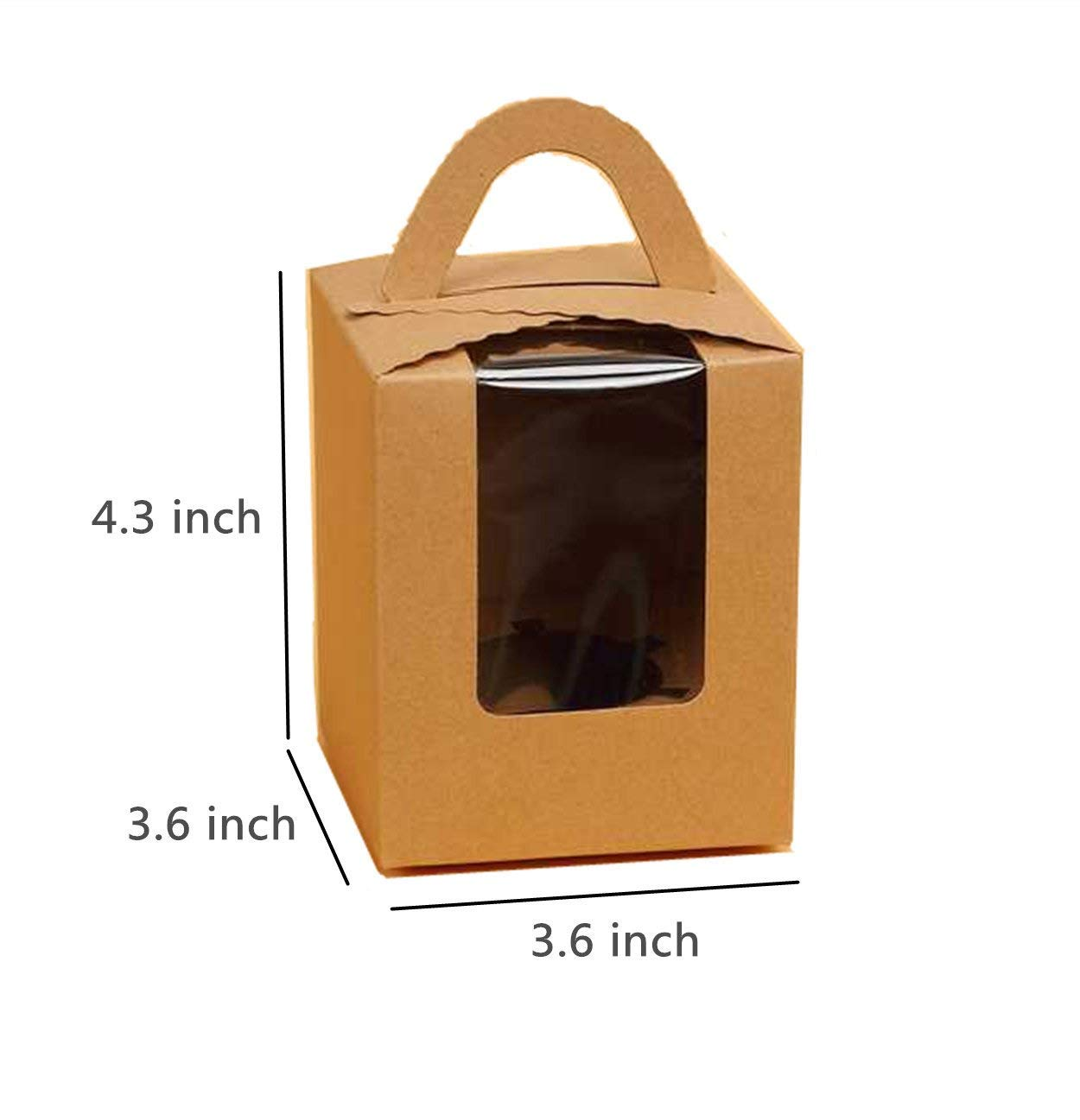 YOZATIA 12PCS Kraft Paper Cupcake Boxes with Window, 3.6''x3.6''x4.3'' Gift Box for Wedding Decoration, Party Favor