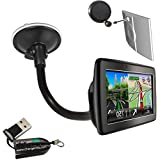 ChargerCity® OEM Gooseneck Windshield Suction Cup Mount for TOMTOM VIA 120 125 160 180 200 Start 20 25 60 65 LIVE 820 825 Go 500 510 5100 600 610 6000 Europe GPS Navigator