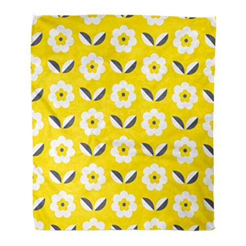 - Golee Throw Blanket Yellow 1970S Retro Pattern Flowers and Leaves Girl 70S Scandinavian 50x60 Inches Warm Fuzzy Soft Blanket for Bed Sofa
