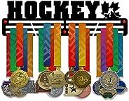Hockey Medal Holder Display Rack - 3 Bars Black Coated 3 mm Steel Metal Hanger with Wall Mount Metallic Stando