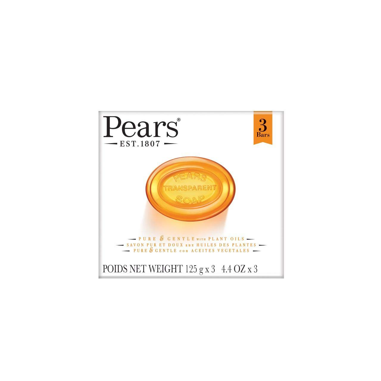 Pears Pure & Gentle Soap with Natural Oils, 3.5 oz bars, 3 ea
