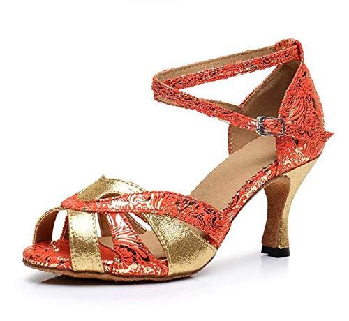 Willsego Our41 Criss De tango Samba Para Orangeheeled6cm moderno Salsa Mujer Strap 5 uk6 Altos Hebilla Sandalias Jazz Metal Baile Tacones Cross Zapatos Eu40 rrqwBd