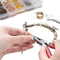 Includes Pliers DIY Craft Tool kit Earring Making Kit Jump Rings Supplies with Hooks tweezer and Ring Opener Faux Leather Jewelry Tool with 1125 Rings Pieces in Gold /& Bronze
