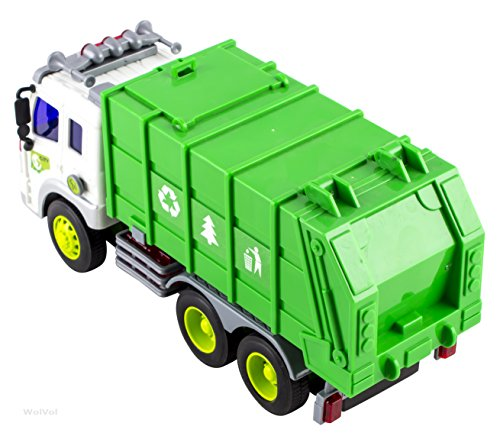 WolVol Friction Powered Garbage Truck Toy With Lights and Sounds For Kids (Can Open Back)