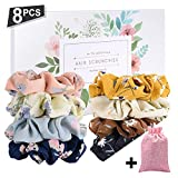 SEVEN STYLE 8 Pcs Colors Women's Chiffon Flower Hair Scrunchies Hair Bow Chiffon Ponytail Holder,Chiffon Hair Ties with gift box and collection bags(8 PCS Chiffon Flower)