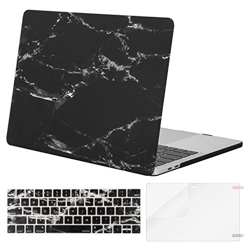 (MOSISO MacBook Pro 15 Case 2018 2017 2016 Release A1990/A1707 Touch Bar, Plastic Pattern Hard Shell & Keyboard Cover & Screen Protector Compatible Newest Mac Pro 15 Inch, Black Marble)