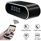 Moosoo Wireless IP Camera 1080P Round Clock Hidden Camera Night Vision Motion Detection Alerts Alarm Clock Baby Pet Monitor Nanny Cam Real-time Home Surveillance Cameras for iOS/Android