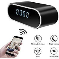 Moosoo Wireless Mini Camera HD 1080P Round Alarm Clock Camera Night Vision Motion Detection Alerts Alarm Clock Baby Pet Monitor Nanny Cam Real-time Home Surveillance Cameras for iOS/ Android