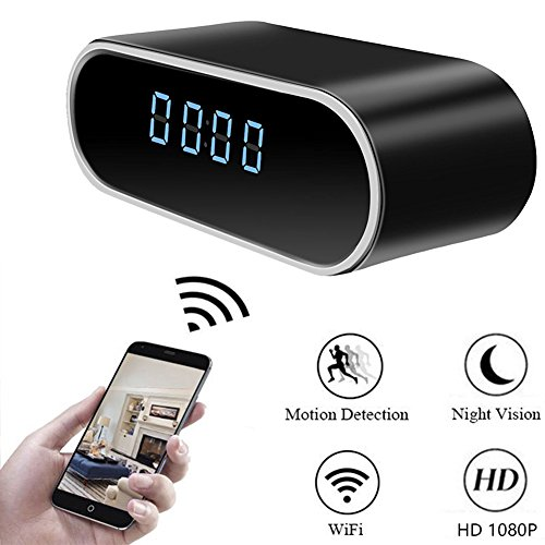 51BLfY lcnL - Moosoo Wireless IP Camera 1080P Round Clock Hidden Camera Night Vision Motion Detection Alerts Alarm Clock Baby Pet Monitor Nanny Cam Real-time Home Surveillance Cameras for iOS/Android