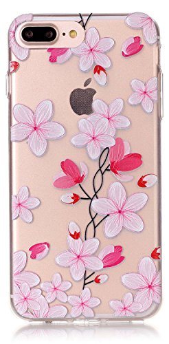 iPhone 8 Plus Case, iPhone 7 Plus Case Thin Clear 5.5 inch TPU Silicone Transparent Ultra Thin Design Soft Back Cover Embossed Pattern Rose Petals Touch-U Phone Stand (NOT Fit iPhone7 iPhone8 4.7inch) from AIYZE