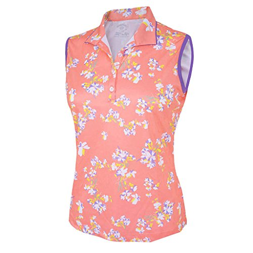Face Sleeveless - Monterey Club Ladies Dry Swing Blossom Double Face Collar Sleeveless Shirt #2339 (Peach Pink/Royal Lilac, Small)