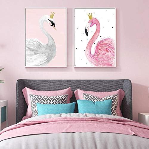 キャンバス絵画ピンクフラミンゴ鳥壁アート水彩白鳥ポスターとプリント写真用リビングルームの装飾50×70Cmx2個なしフレーム
