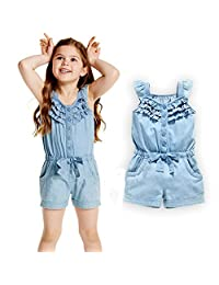 i-Auto Time Toddler Kids Baby Girls Rompers Denim Short Overalls Bow Ruffled Jumpsuit