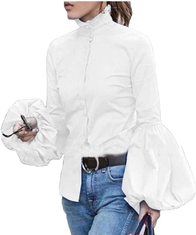 SOWTKSL Blusa sólida con Mangas Tipo Farol con Volantes y Cuello Alto para Mujer Blanco Blanco XL: Amazon.es: Ropa y accesorios