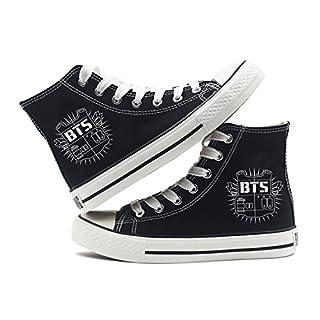 Fanstown Kpop Sneakers Canvas Shoes Womens' Size Black Fanshion Memeber Hiphop Style Fan Support with lomo Card
