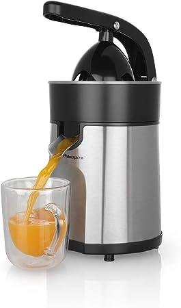Oferta amazon: Orbegozo EP 4100 - Exprimidor zumo eléctrico de naranjas, brazo articulado, acero inoxidable, motor profesional AC de 85 W, sistema antigoteo, incluye 2 conos para piezas de distinto tamaño
