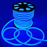 150' Flex LED Neon Rope Light Blue Holiday Decorative Lighting Flexible Cool Illuminated LED Neon Rope Tube Light 50-foot 1200 Bulbs w/ Power Cord Connectors Holiday Home Bar Commercial Outdoor