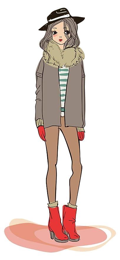 Pegatina de pared Modelar Mujer con sombrero en ropa de invierno de moda de moda Pegatinas