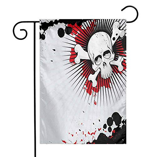 Mannwarehouse Halloween Garden Flag Skull with Crossed Bones Over Grunge Background Evil Scary Horror Graphic Decorative Flags for Garden Yard Lawn W12 x L18 Pearl Red Black ()