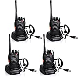 Ammiy BaoFeng 4 PCS Walkie Talkie Radio BF-888S 5W Portable Ham CB Two Way Radio Handheld UHF 400-470MHz Transceiver Interphone With Rechargeable Li-ion Battery Headphones Charge Via USB (Pack of 4)