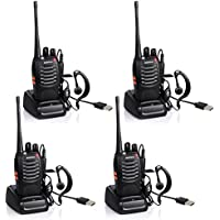 Ammiy baofeng Walkie Talkie Radio Ammiy BF-888S Portable Ham Two Way Radio Handheld UHF 400-470MHz Transceiver Interphone With Rechargeable Li-ion Battery Headphones Charge Via USB (Pack of 4)