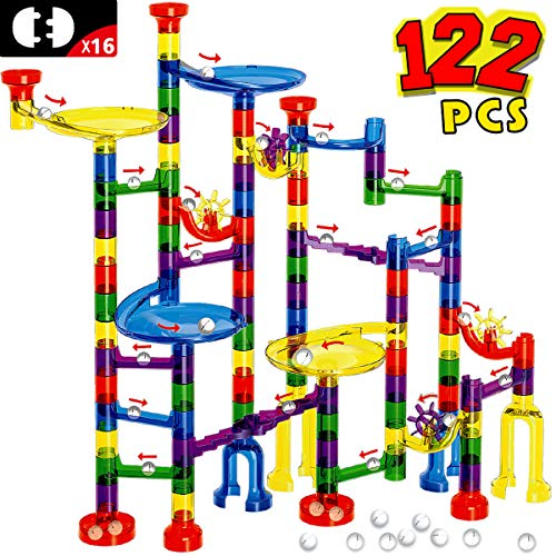 FUNTOK Marble Run Set - 122Pcs Marble Maze Game Marble Race Track Building Toy for Kid, Building Blocks Educational Toys for Boy Girl Age 3+(90 Translucent Marbulous Pcs & 32 Pcs DIY Marbles) (Marble Game Kids)