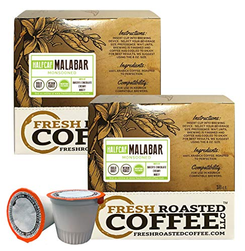 Fresh Roasted Coffee LLC, Indian Monsooned Malabar Half Caf Coffee Pods, Medium Roast, Capsules Compatible with 1.0 & 2.0 Single-Serve Brewers, 36 Count
