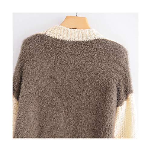 Lunga Streetwear Lavorata S Moda m Donna A Chic Pullover Vintage Allentato Maglia Sikesong Felpa O Collo Manica Ladies Patchwork x6znUwqAO