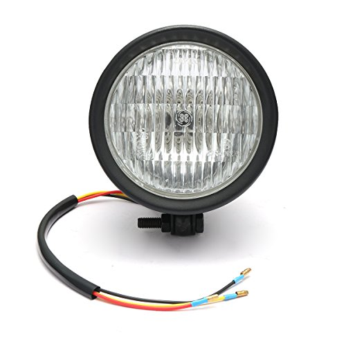 CoCocina 12V H4 55W Motorcycle Headlight Hi/Lo Clear Lens For Harley Bobber Chopper Touring - Black