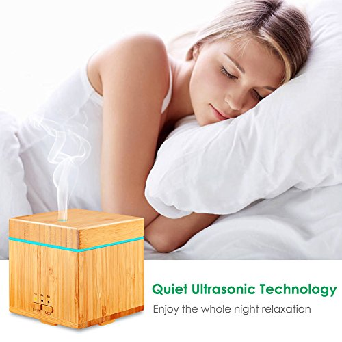 URPOWER Real Bamboo Oil Diffuser 300ml Ultrasonic Cool Aromatherapy Auto Shut-off, 7 Timer Settings