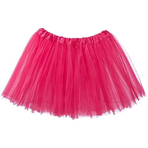 My Lello Adult Tutu Skirt, Classic Elastic 3 Layer Tulle Tutu for Women and Teens - Hot Pink