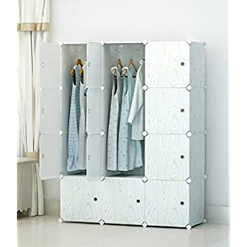 KOUSI Portable Clothes Closet Modular Plastic Wardrobe Freestanding Storage Organizer with doors large space and