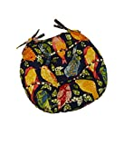 Indoor / Outdoor Round Tufted Bistro Cushion with Ties - Blue Ash Hill Garden Birds - Red, Blue, Green, Pink, Yellow - Choose Size (16'' round)