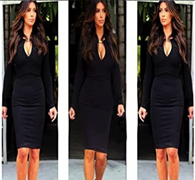 DS02 Ladies Women/'s Fashionable Celeb Long Sleeve Bodycom Stretchable Dress