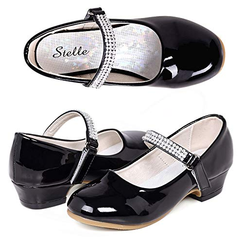 STELLE Girls Mary Jane Shoes Low Heel Party Dress Shoes for Kids (9MT, Black)