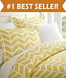 Difference Between King and Cal King Celine Linen Luxury Silky Soft Coziest 1500 Thread Count Egyptian Quality 3-Piece Duvet Cover Set |Arrow Pattern| Wrinkle Free, 100% HypoAllergenic, King/California King, Yellow