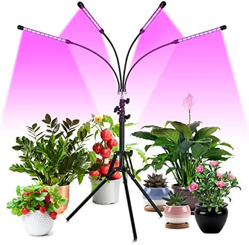 FREDI Grow Light Floor LED Grow Light with Stand Full Spectrum 3 9 12H Timer, Four-Head Sunlike Full Spectrum LEDs Plant Light for Indoor Plants,Tripod Stand Adjustable 14-56.5 in 3 Modes