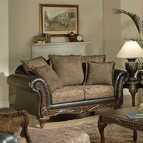 Roundhill Furniture San Marino 2-Tone Fabric Loveseat, Chocolate