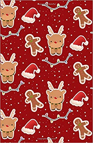 Bullet Journal Cute Reindeer Snow Gingerbread Man Red Notebook