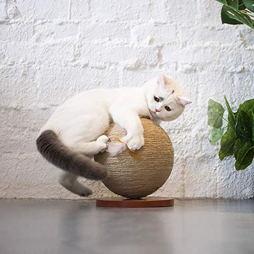 - Dulcii Cat Toy Balls with Feather, Sisal Rope Weave Ball Cat Rod Pet Toys Teaser Play Chewing Rattle Scratch Catch Toy (Small Ball-8'x8'x9.5')