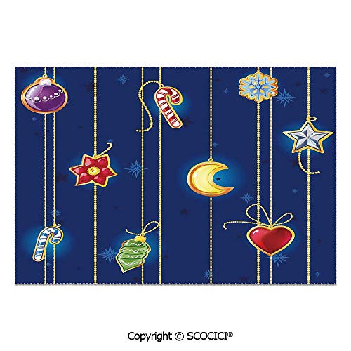 SCOCICI Set of 6 Printed Dinner Placemats Washable