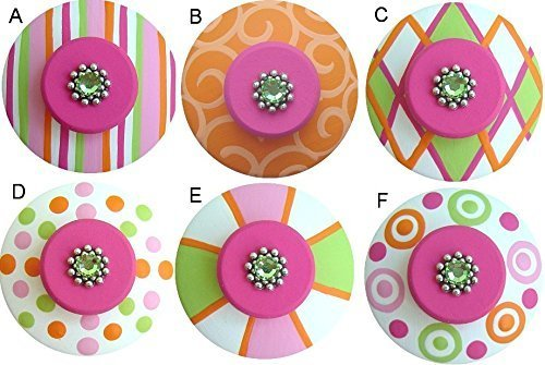 Colorful Hand Painted Decorative Pink Orange & Apple Green Abstract Geometric Drawer Knobs Pulls Choose Your Designs (SINGLE KNOB)