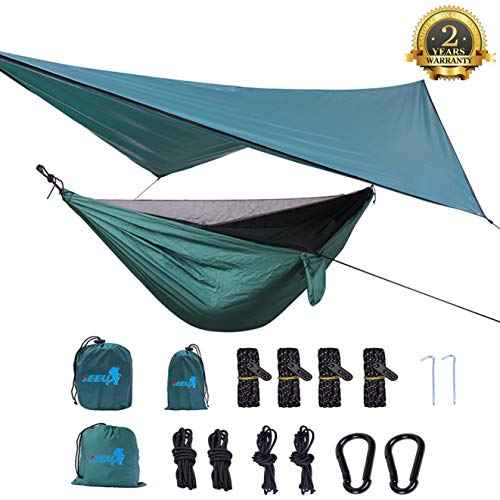SEEU Camping Hammock with Mosquito Net, Rain Fly, Tree Straps, and Compression Sack Lightweight Portable Single Hammock Perfect for Backpacking Travel Outdoor Adventures and Camping Trip