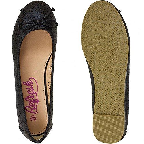 Refresh Shoes - Bailarinas de Piel para mujer Negro negro Negro - negro