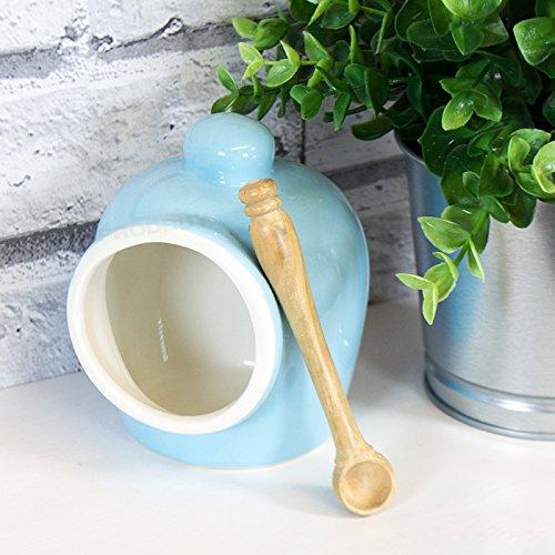 Blue Porcelain Salt Pig with Wooden Spoon ProdBuy Ltd