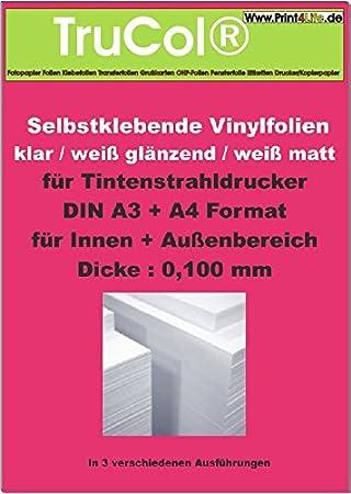 10 hojas A3 PVC blanco mate autoadhesivo película (0.100 mm ...