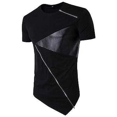 Shirts Herren GJKK Herren Asymmetrisches Patchwork T-Shirt Basic O-Neck Tee Baumwolle Kurzarm Hedging Slim Fit...