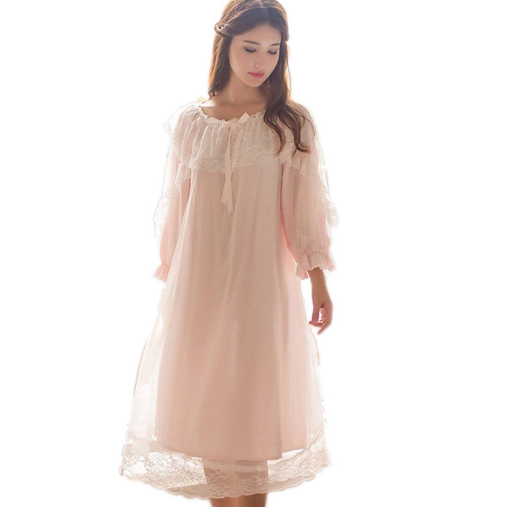 Women's Victorian Nightgown Vintage Sleepwear Lace Robe Chemise Lounge Dress Pajamas SINGQUEEN